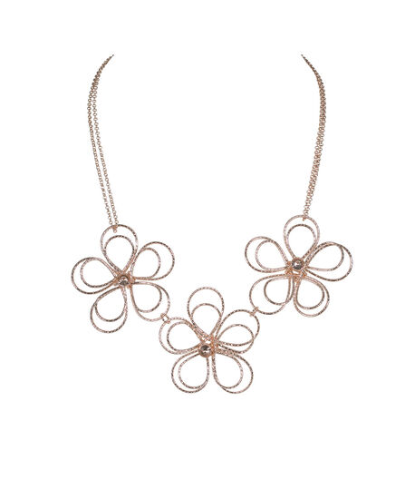 Rose Gold Wire Flower Statement Necklace, Soft Rose Gold, hi-res