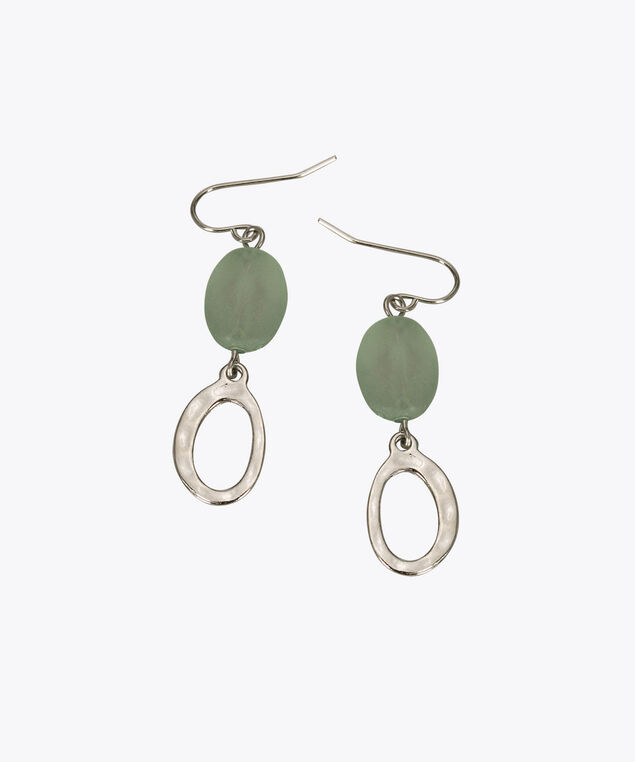 Bead & Hammered Metal Drop Earring, Mint/Rhodium, hi-res