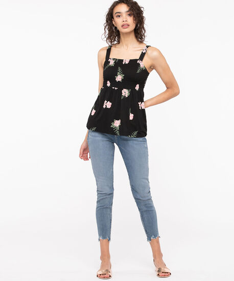 Sleeveless Smocked Peplum Top, Black/Blossom/Basil, hi-res