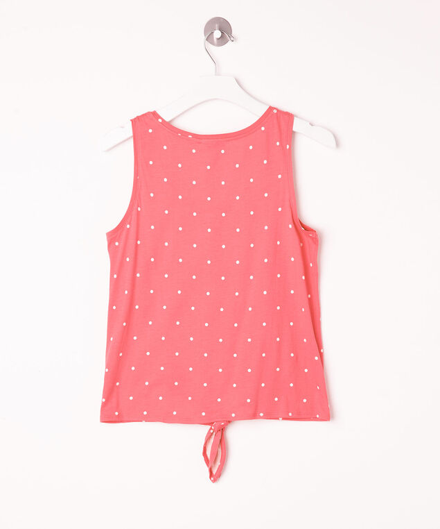 Sleeveless Tie Waist Henley Top, Strawberry/Pearl, hi-res