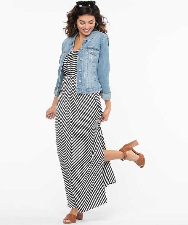 Black & White Stripe Maxi Dress, Black/White