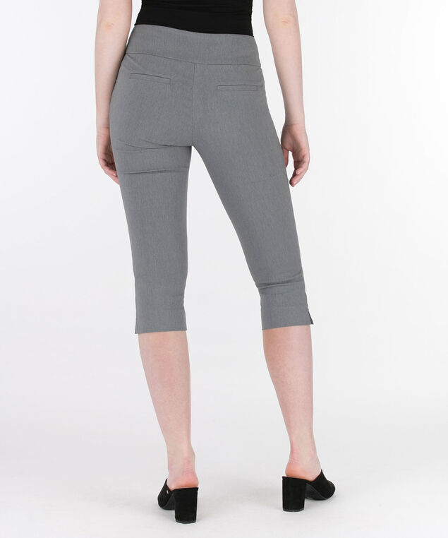 Microtwill Pull-On Capri, Heather Grey, hi-res