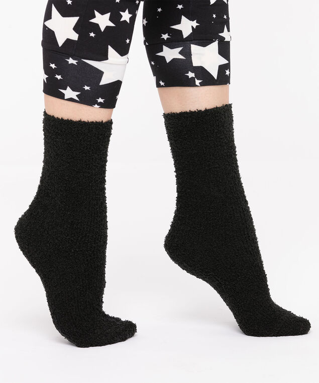 Solid Colour Plush Socks, Black