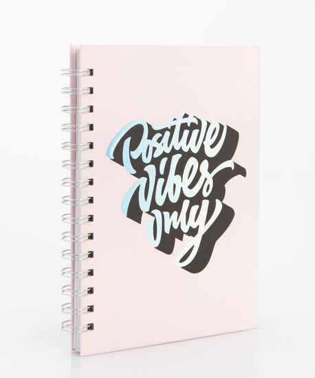 Positive Vibes Only Spiral Notebook, Soft Pink/Black, hi-res