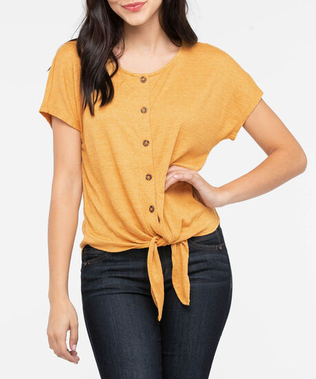 Extended Sleeve Tie Front Top, Mustard, hi-res