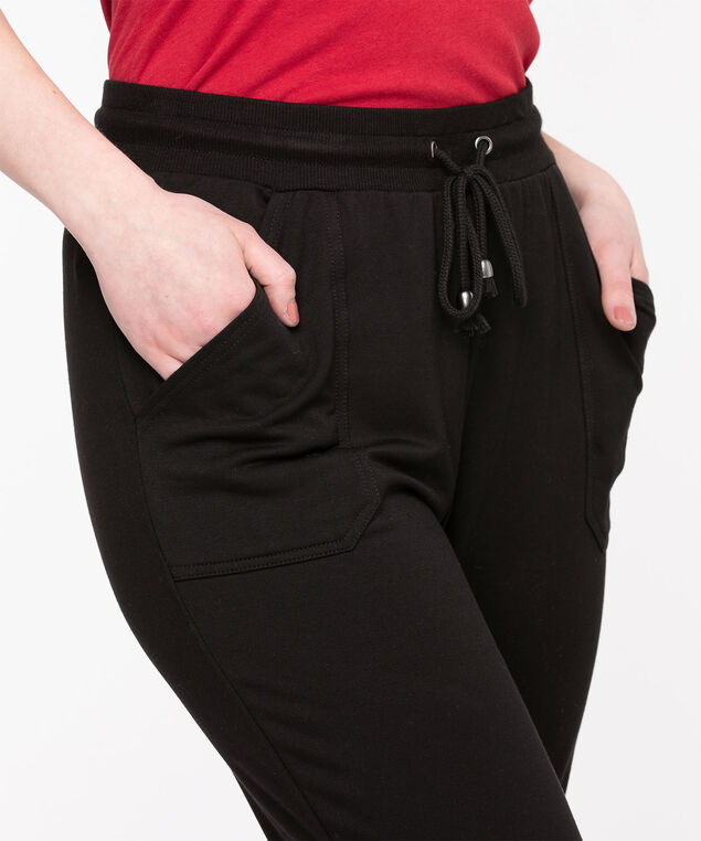 French Terry Drawstring Joggers, Black