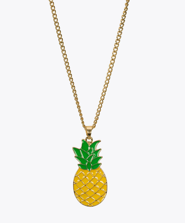 Pineapple Pendant Necklace, Gold/Yellow, hi-res