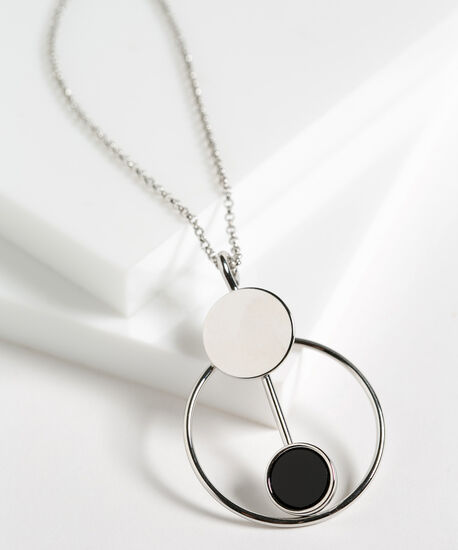 Black & Silver Geo Pendant Necklace, Black/Silver, hi-res