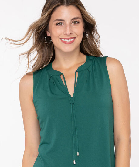 Sleeveless Keyhole Tie-Neck Top, Cypress, hi-res