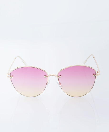 Ombre Sunset Butterfly Sunglasses, Pink/Yellow/Gold, hi-res