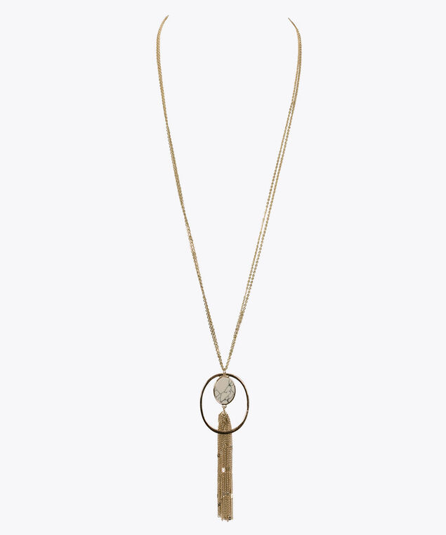 Natural Stone & Tassle Pendant Necklace, Gold, hi-res