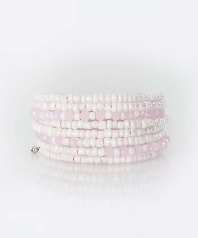 Beaded Coil Bracelet, Cameo Pink/Pearl, hi-res