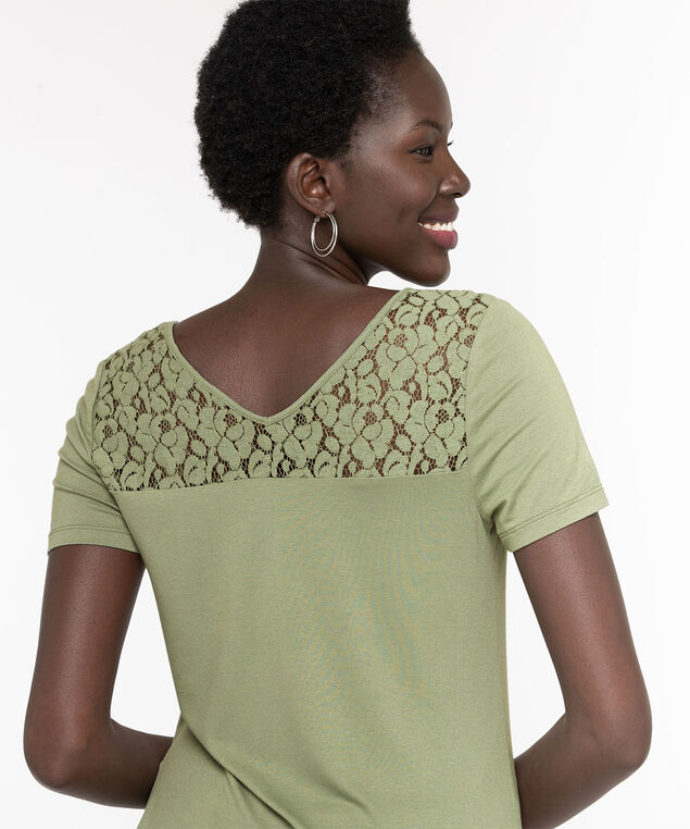 Lace Trim Double-V Tee, Fog Green