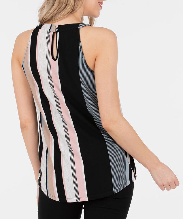 Sleeveless Striped Halter Neck Top, Black/Cameo Pink/Grey/Blue, hi-res