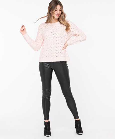 Chenille Pointelle Sweater, Pastel Pink Mix, hi-res