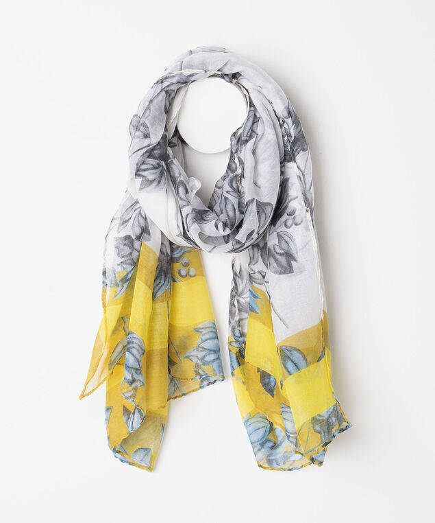 Botanical Border Stripe Oblong Scarf, Gold/Blue/Pearl/Black, hi-res
