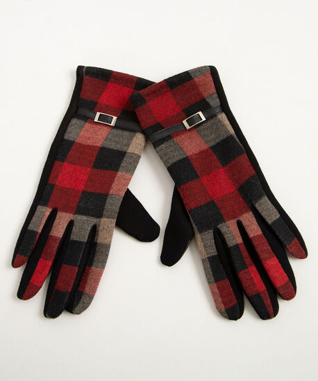 Plaid Buckle Texting Glove, Black/Red/Camel, hi-res