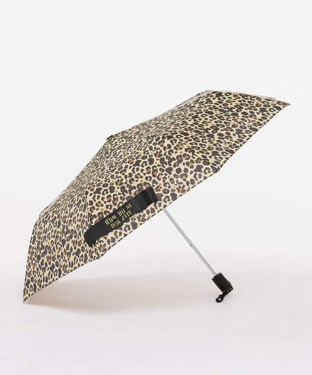 Leopard Print Umbrella, Black/Gold, hi-res