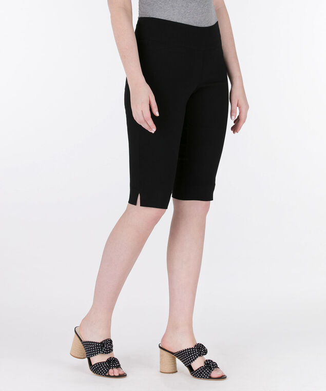 Microtwill Pull-On Bermuda, Black, hi-res