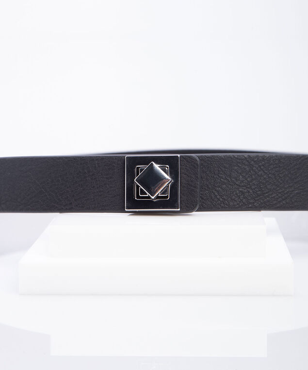 Basic Stretch Skinny Belt, Black/Rodium, hi-res