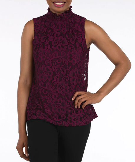 Sleeveless Lace Smocked Neck Top, Plum, hi-res