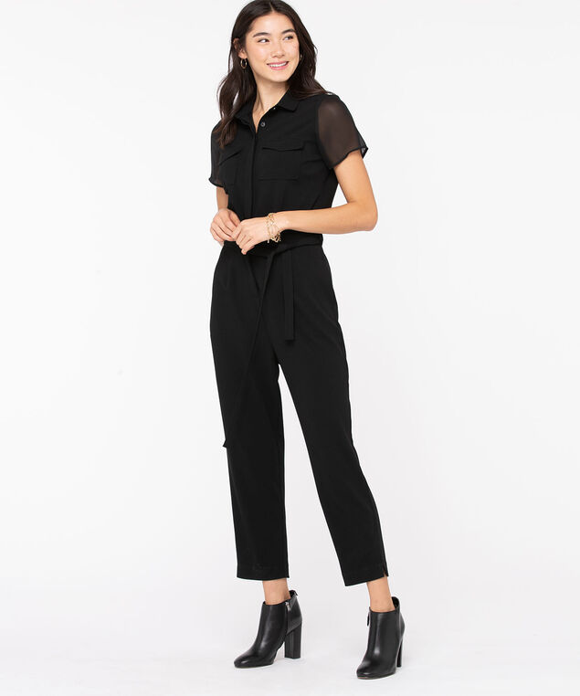 Collared Tie Waist Jumpsuit, Black
