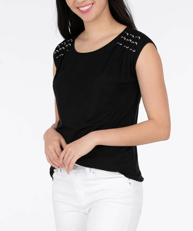 Pleated Cross-Lace Detail Top, Black, hi-res