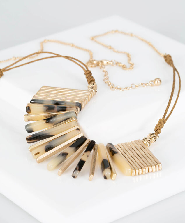 Resin & Metal Fringe Statement Necklace, Gold, hi-res