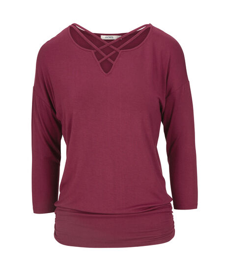 Criss-Cross Neck Knit Top, Black Cherry, hi-res