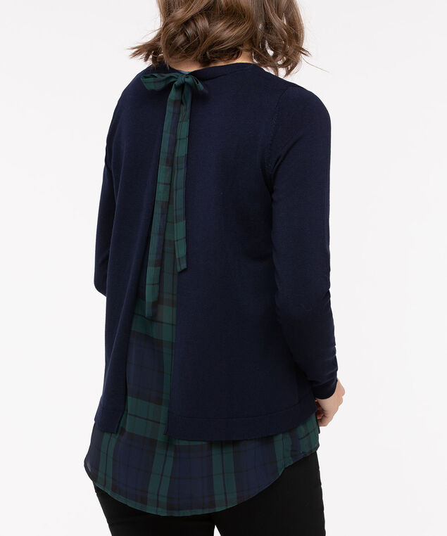 Flyaway Woven Fooler Sweater, Navy/Deep Green, hi-res