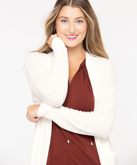 Waffle Knit Open Cardigan, Pearl, hi-res