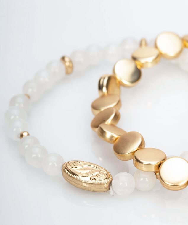 Metal & Bead Stretch Bracelet Set, Gold/Pearl, hi-res