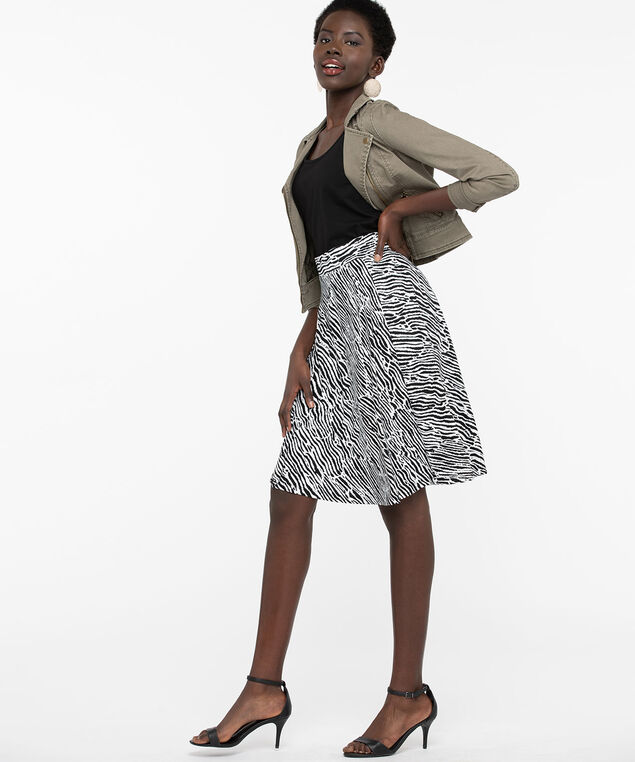Animal Print Crepe A-Line Skirt, Pearl/Black, hi-res