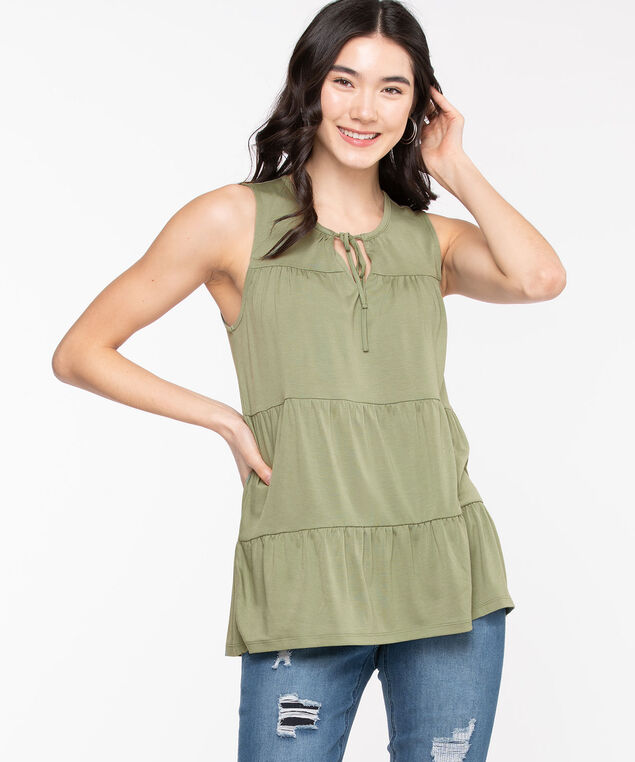 Sleeveless Tiered Tie-Neck Top, Sage Green