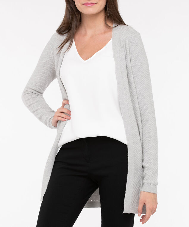 Open Front Long Cardigan, Light Heather Grey, hi-res