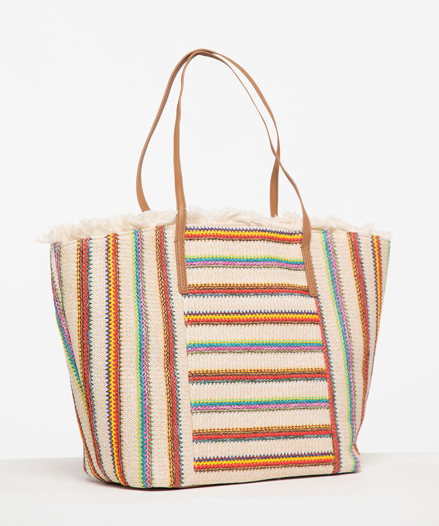 Striped Beach Tote, Natural/Sunshine/Bright Aqua, hi-res