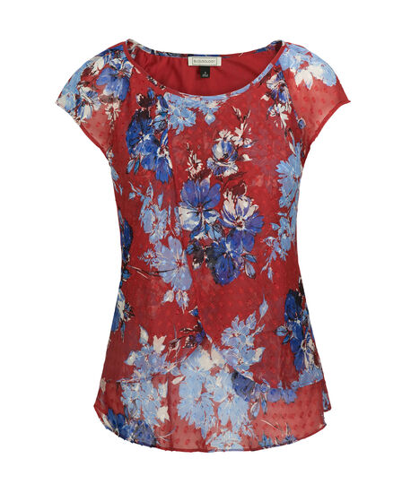Floral Tulip Hem Blouse, Poppy Red/Blue, hi-res