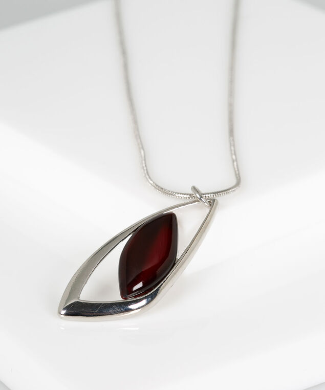 Cateye Leaf Necklace, Crimson/Rhodium, hi-res