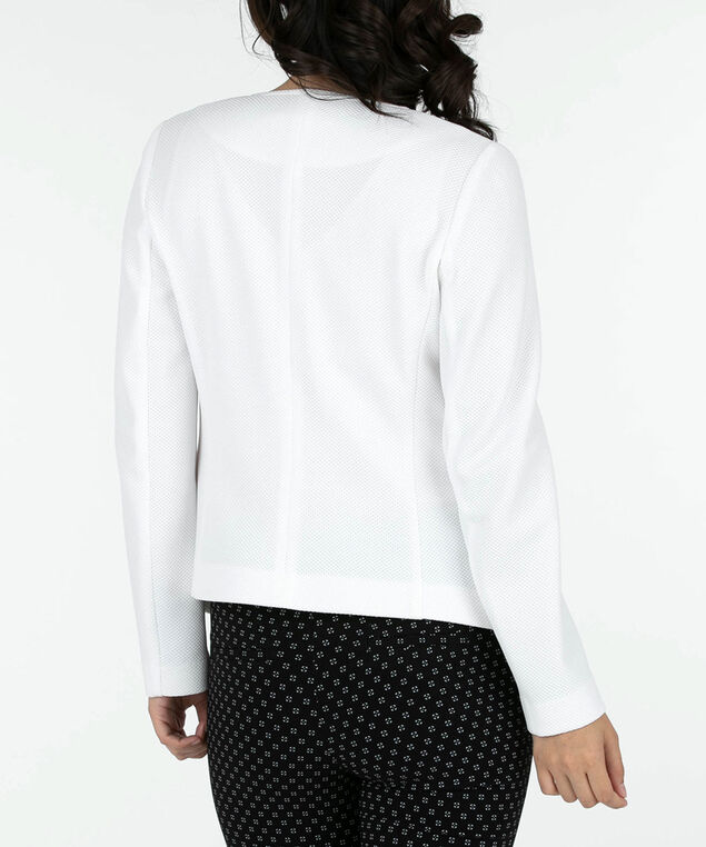 Pique Knit Open Blazer, True White, hi-res