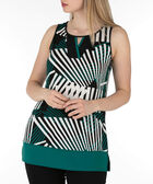 Keyhole Sleeveless Top, Green/White/Black, hi-res