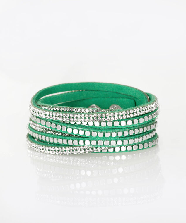 Green Faux-Suede Wrap Bracelet, Emerald/Clear/Rhodium, hi-res