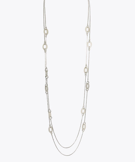 Multi-Strand Stationed O-Ring Necklace, Rhodium, hi-res