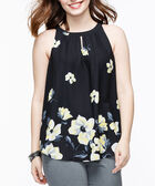 Keyhole Halter-Style Blouse, Black/Yellow/Pearl, hi-res