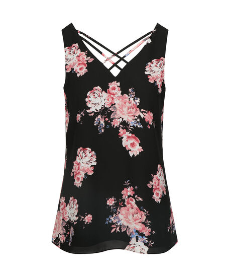 Criss-Cross Double-V Sleeveless Blouse, Black/Coral/Pearl, hi-res