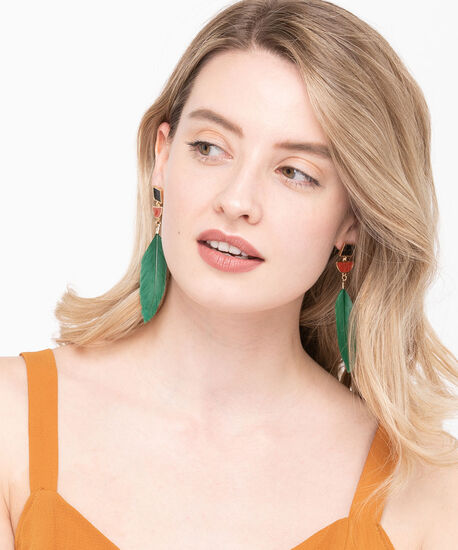 Feather Drop Earring, Jade/Black/Gold, hi-res