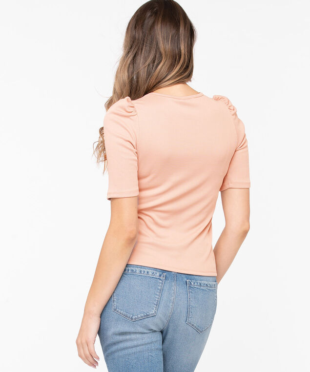 Puff Sleeve Rib Knit Top, Soft Blush, hi-res