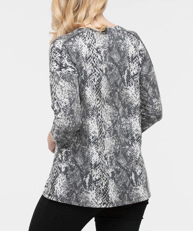 3/4 Sleeve Snakeskin Print Pullover, Charcoal/Grey/Pearl, hi-res