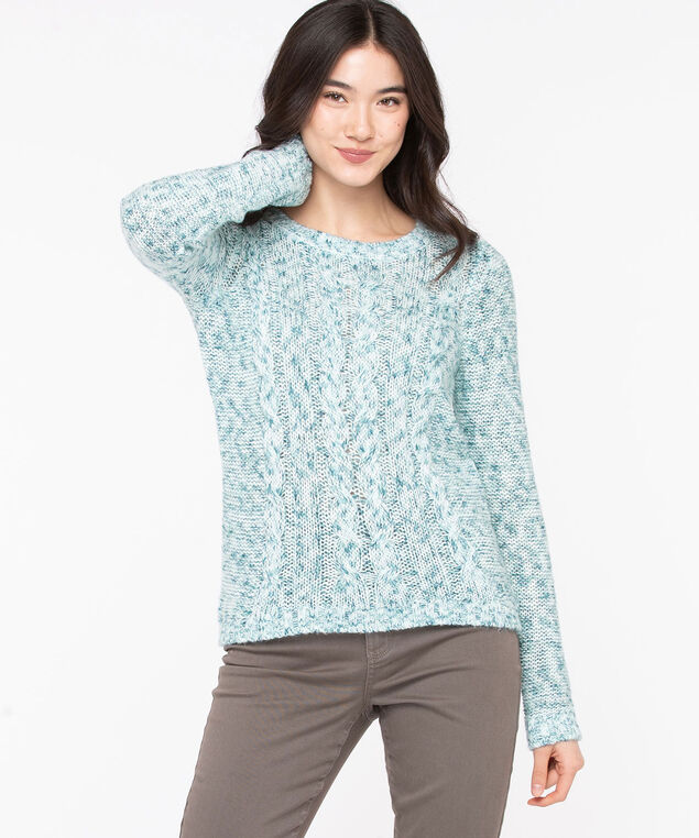 Scoop Neck Cable Knit Sweater, Reef Waters Mix
