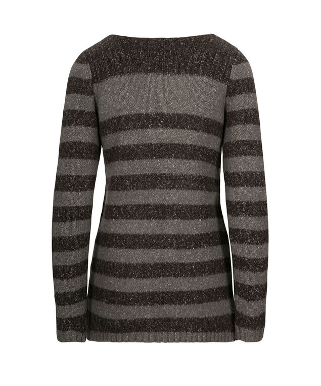 Striped Plush Pullover Sweater, Charcoal/Slate, hi-res