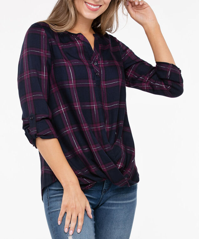 Plaid Twist Front Henley Blouse, Deep Sapphire/Burgundy, hi-res